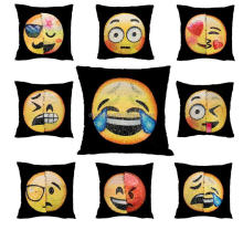 New Model Reversible Black Square Emoji Design Sequin Fabric Changing Color Throw Pillow Case