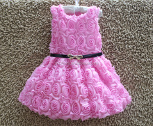 Z10618B 2016 Latest full rose crocheted dreaming girls dress with blet solid flower cute girls party dress