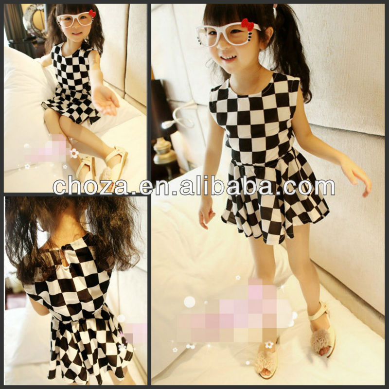 THE NEW FASHION SWEET WHITE AND BLACK TARTAN PLAID DRESS FOR GIRLS