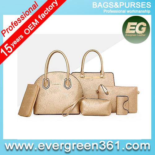 Purses and handbags stylish ladies bag set cheap price handbag 6pcs in 1set SY7498
