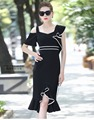 2017 summer latest design flouncing irregular design off-shoulder bodycon casual dress China garment factory