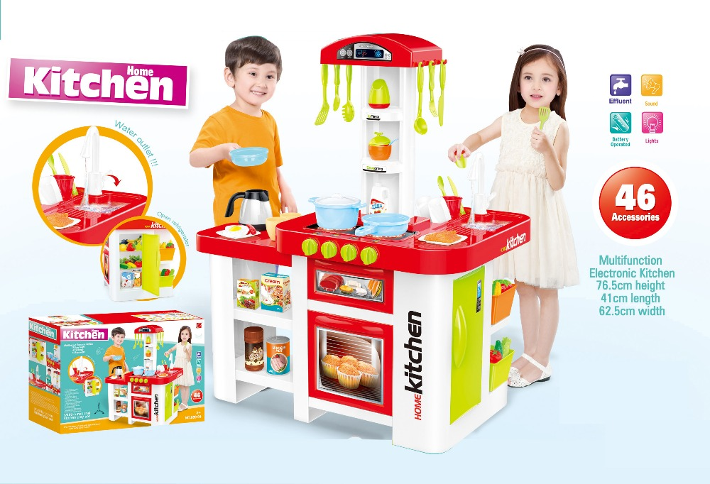 Fashion New Products Kids Plastic Toy Kitchen Play Set Y1206008 Pretend Play Food set with sound and light