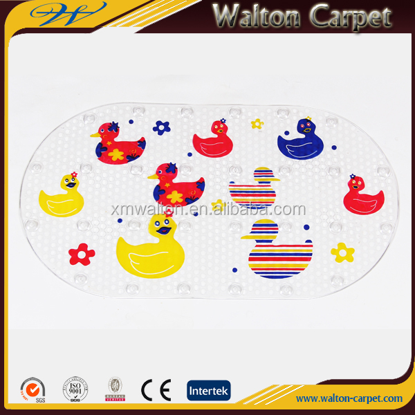 Cartoon kids favorite home decorative eco-friendly pvc oval shower mat