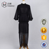 Woman Black Mesh Lace Full Dress Ladies Half Sleeve Long Party Evening Dress