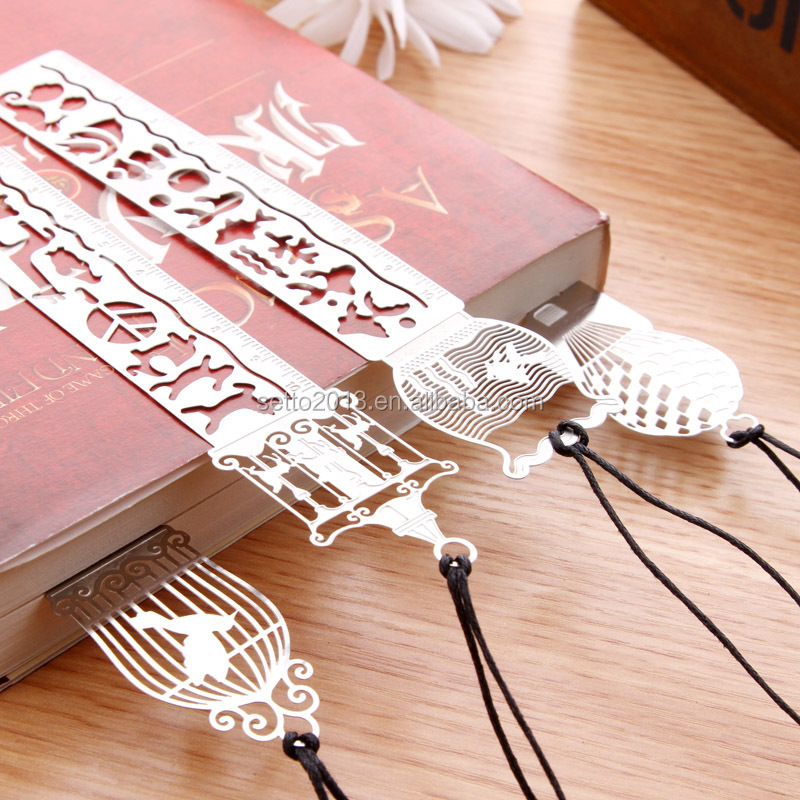 Cartoon bird fish metal bookmark with ruler material escolar papelaria bookmarks for books stationery 10cm