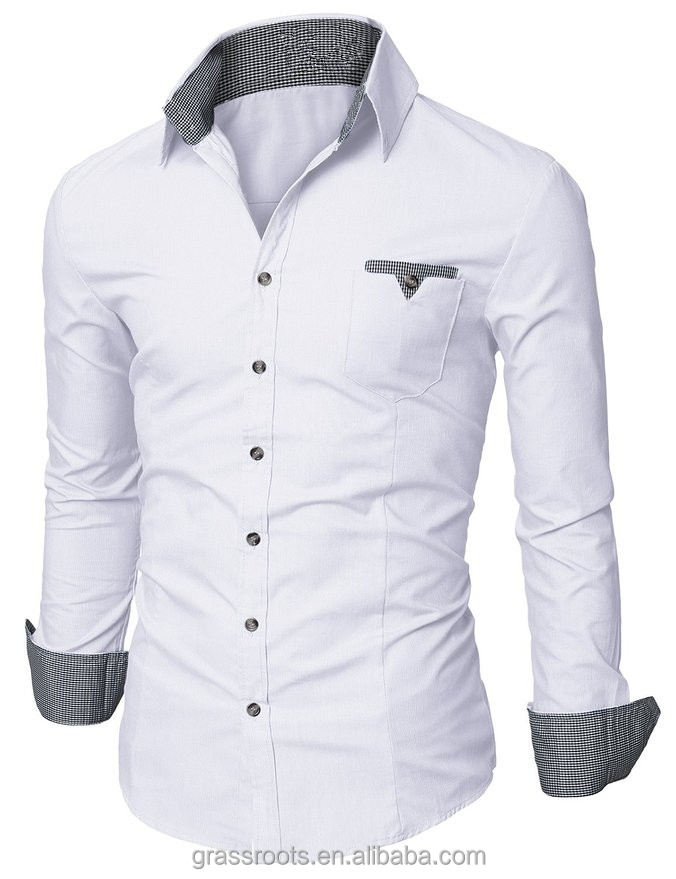 latest fashion design men dress shirt Italian style double collar mens casual double shirts for men