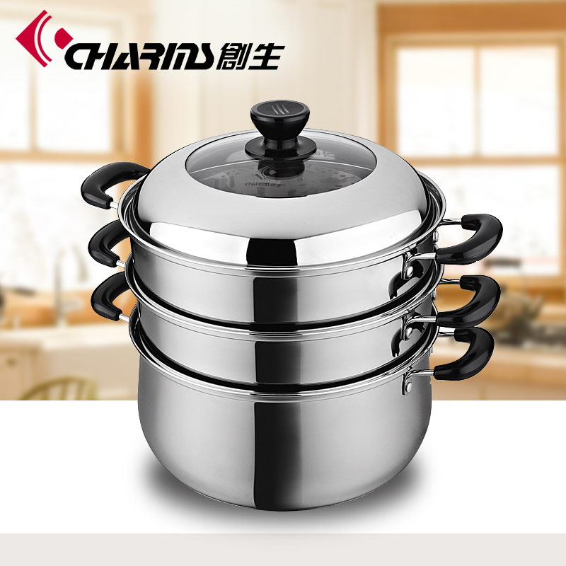 Double knobs 3 layers stainless steel steam cooking pot