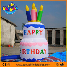 Vivid color happy birthday inflatable cake model for decoration/advertising