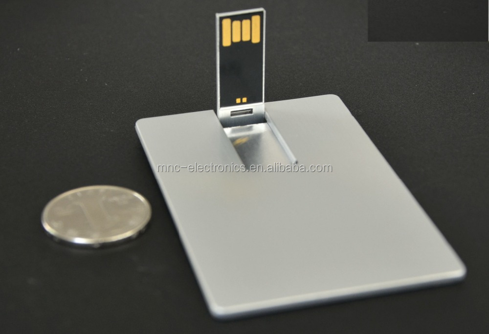Promotional gift credit card size customized logo printing Bulk 1gb metallic usb flash memory drive