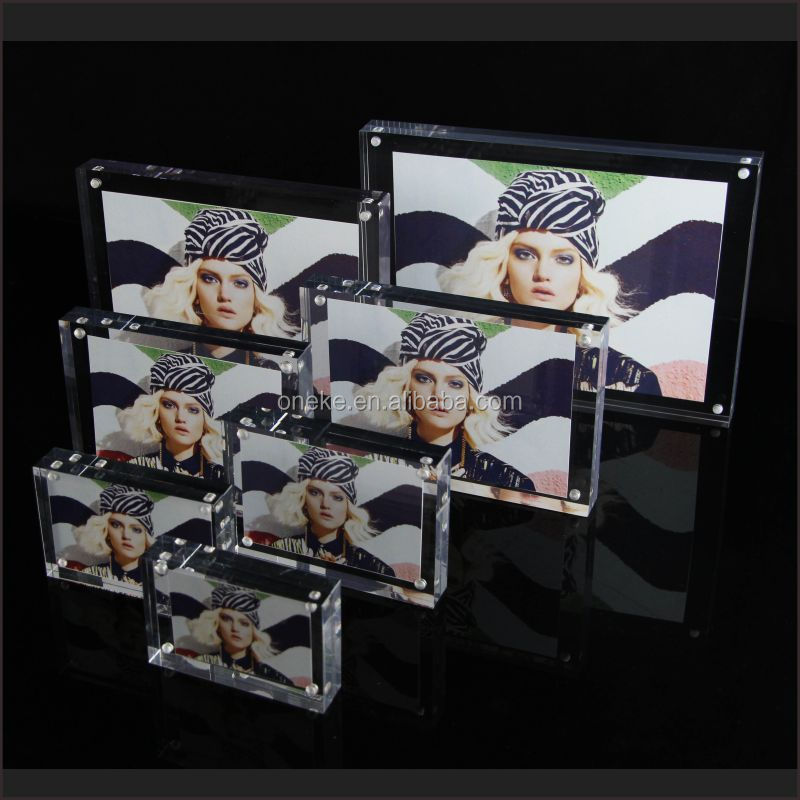 acrylic frameless picture frame with screw