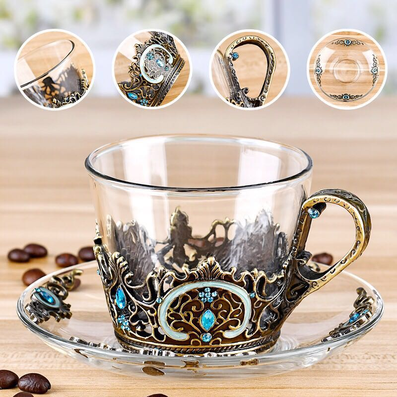 Felicity Iris enamel pewter crystal glass coffee cup in china