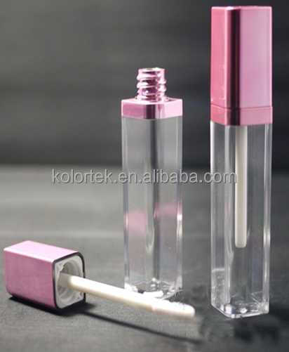 Pink color cosmetic empty square lip gloss packaging