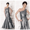 2014 new sex one shoulder mermaid silver evening dress pattern