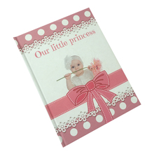 Low price high quality custom design recycled paper favorable price high class baby first year record book printing