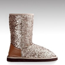 HC-106F new style sequins beautiful luxury snow boots for ladies