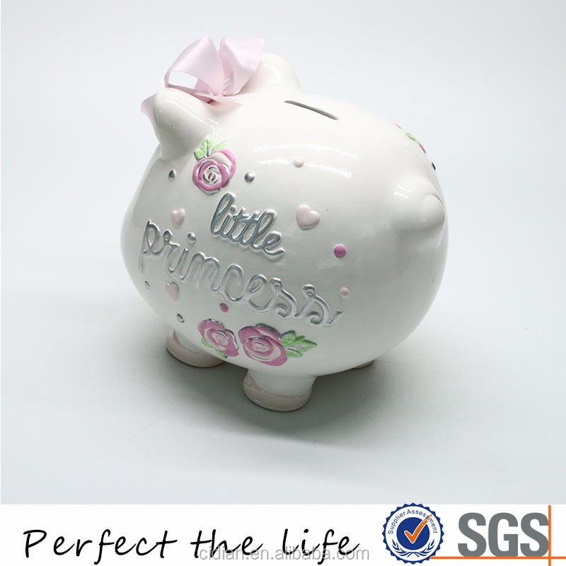 Hot Sales Ceramic White Pig Piggy Bank Coin Bank