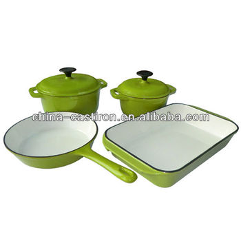 cast iron enamel casserole set