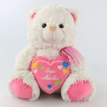 Teddy Bear Dolls Factory Supply Quality Sit Stuffed Animal Pink PlushTeddy Bear with Lover Heart