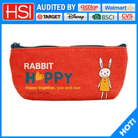 wholesale cute animals expression on canvas pencil case/ pouch