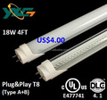 Factory price cUL UL DLC4.1 LED tube light 4ft 1200mm 18w 2160lm T8 electronic ballast compatible