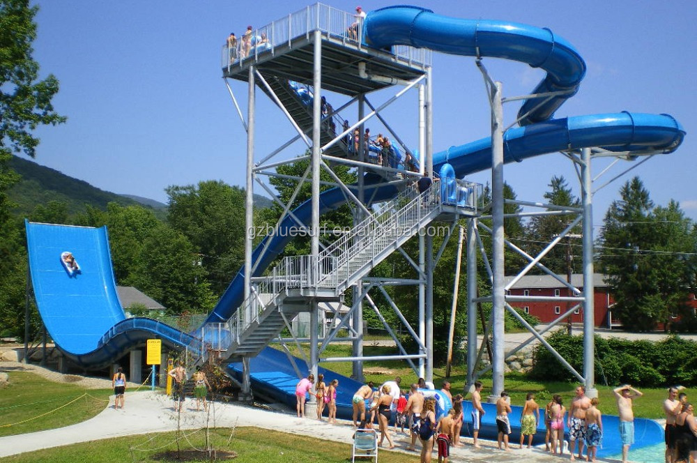 Racer Twin Person Boomerango and Space Bowl Fiberglass Water Slide For Water Park