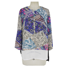 Kaftan style two pieces chiffon top Vintage Patchwork Print ropa mujer blouse for middle age woman