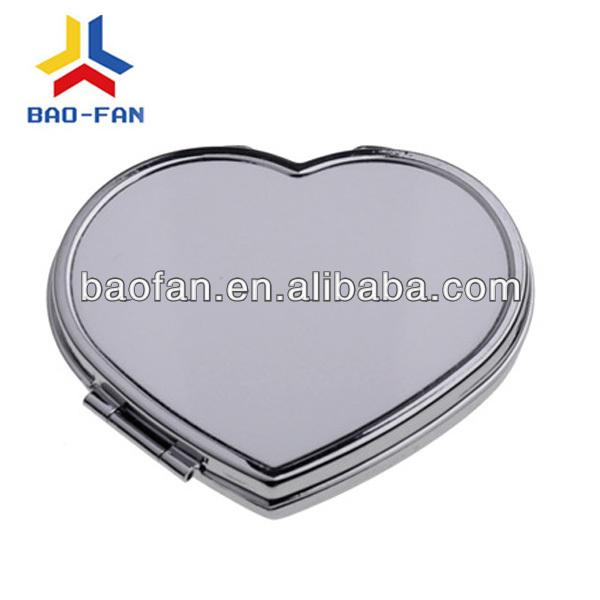 DIY blank sublimation heart shaped folding metal mirror