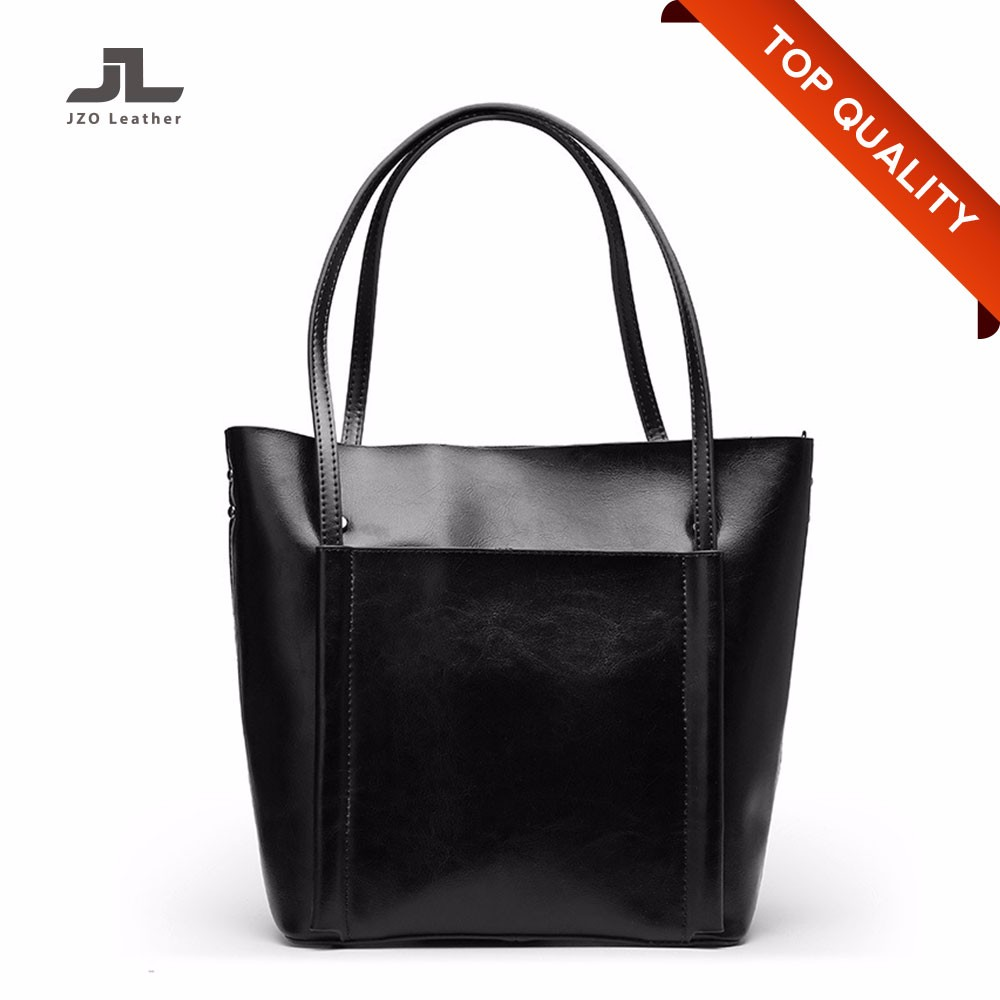 China Factory Manufacturer Genuine Leather Women Utility Tote Bag