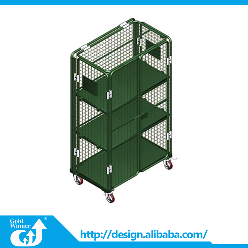 Solid heavy duty 3 layer rolling secuirty stainless steel folding shopping trolley for tools