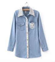 Newest style fashion lace girl's jeans jacket