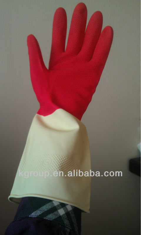 Spray Flock Lined Latex Household Gloves Cotton Inside
