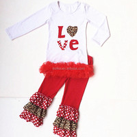 New arrival valentine's day clothes fashion sweet child clothing childrens boutique clothing wholesale