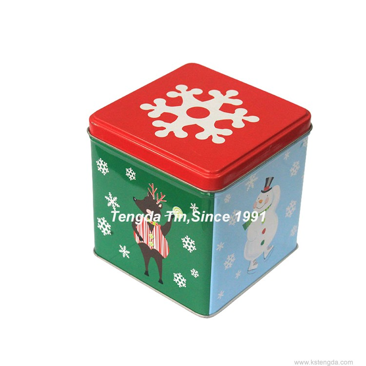 TD- promotion square tin box / unique cake packaging cans
