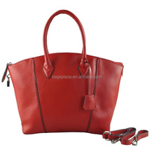 2016 High quality red plain real leather bag / tote bag ladies MD6016