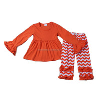plain orange top with chevron icing pants knit cotton super soft home wear baby boutique clothing