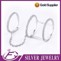 Open size fashion style aaa cz stone 925 sterling silver expandable rings