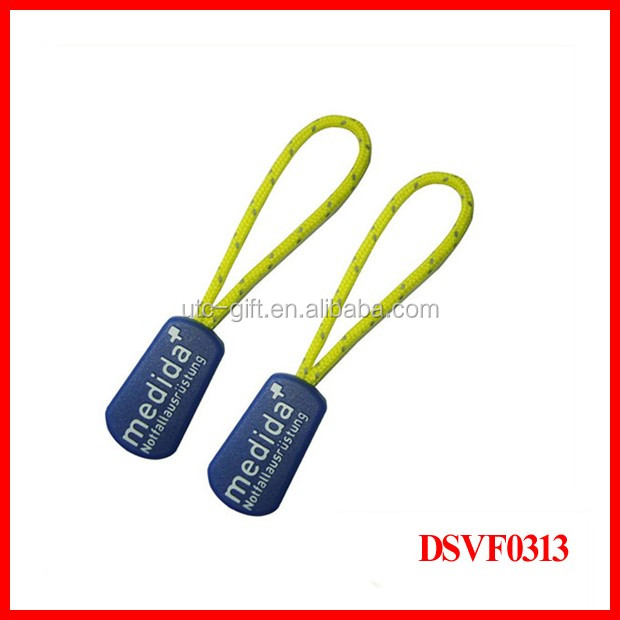 fashion printed logo elastic cord rubber zipper puller