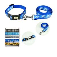 nylon musical note pet collars and leads in blue