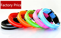 Solid Pattern Safety Dog Collar Pet Products Nylon LED Collar Light-up Flashing Glow LED Collars