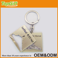 2pcs in one custom metal keychain for logo engraved