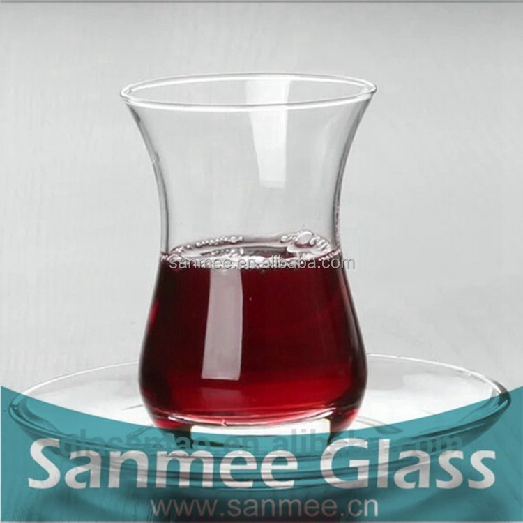 High Quality Glass Turkish Tea Cups Curved