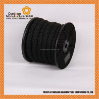 Black color high tenacity double braided polyester rope