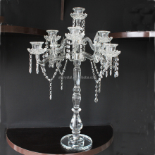China factory supply romantic tall crystal candelabras with beads hanging/ crystal wedding table centerpieces decoration