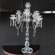 Wedding centerpieces decoration, romantic tall crystal candelabras with beads hanging on sale