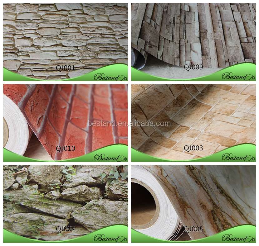 Wholesale PVC Wall Paper from China Supplier High Quality 3d Vinyl Brick Decorative Latest Wallpaper Designs