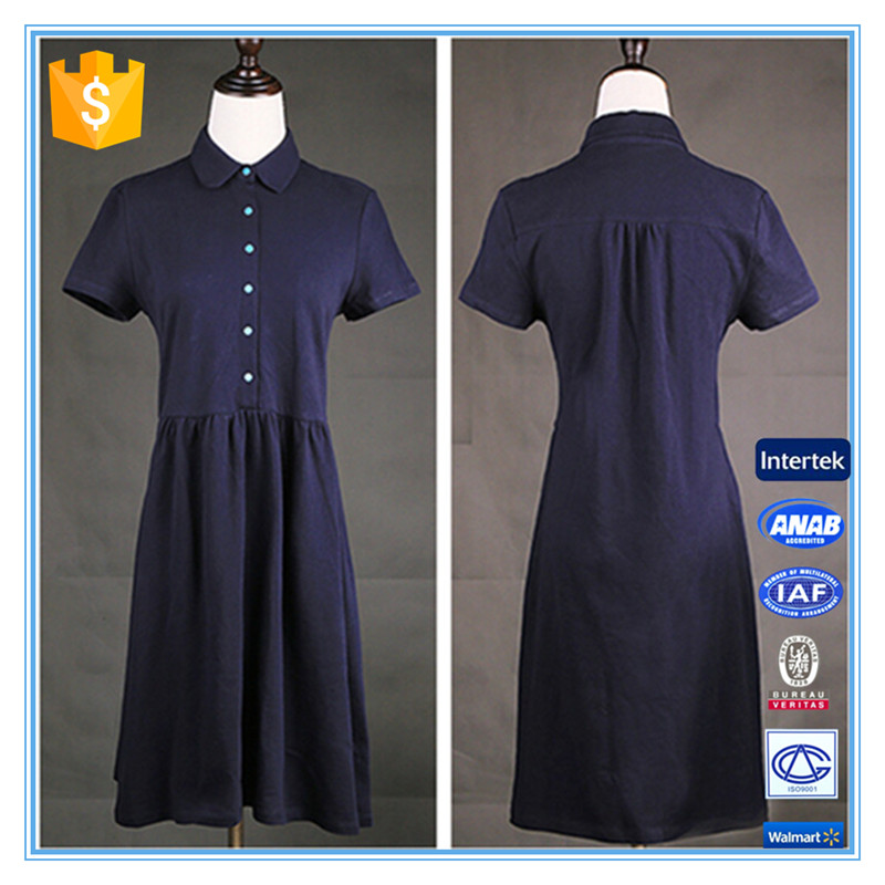Vintage Casual Royal Blue Polo Cotton Short Sleeve Dress Shirt Neck Design