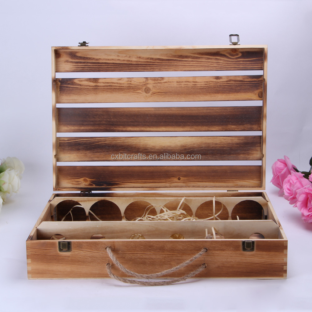 100% Eco-friendly 6 Bottles Pine Wooden Wine Box for Sale