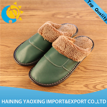 Hot sale cow hide fashion lady indoor slipper oem wholesale