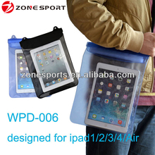 2016 New Fashion pvc Waterproof bag for tablet,waterproof tablet case for ipad2/3/4