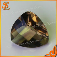 Guangxi top quality synthetic gemstone reasonable price fat triangle fancy/TU Glass stone